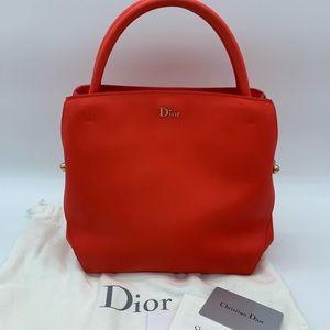Authentic Christian Dior calfskin medium bar tote